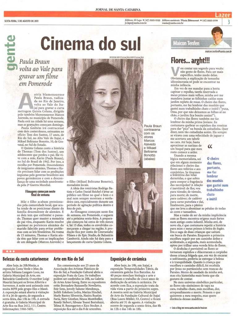 Matéria no Jornal de Santa Catarina